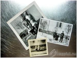 Gamla kort på farmor, farfar, pappa, farbror och faster.
